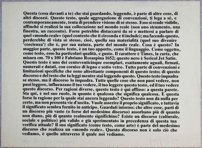 Joseph KOSUTH, Text-context, 1978