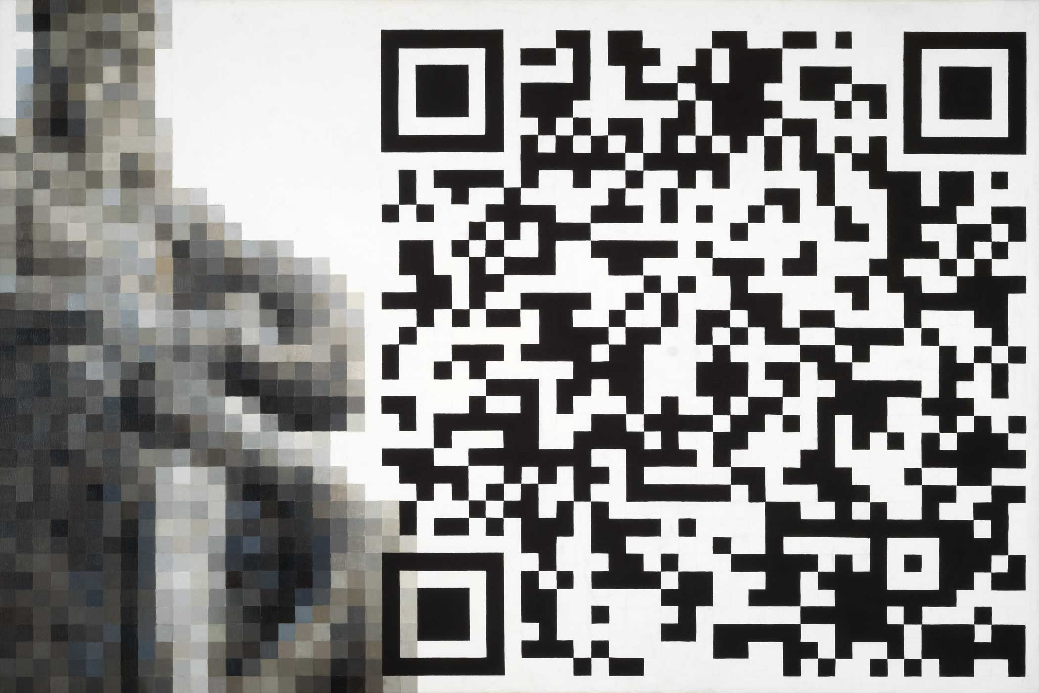 Fabrice de Nola, Palermo, 2010. Olio e acrilico su tela con QR, cm 100 x 150. Crediti fotografici Giacomo D'Aguanno