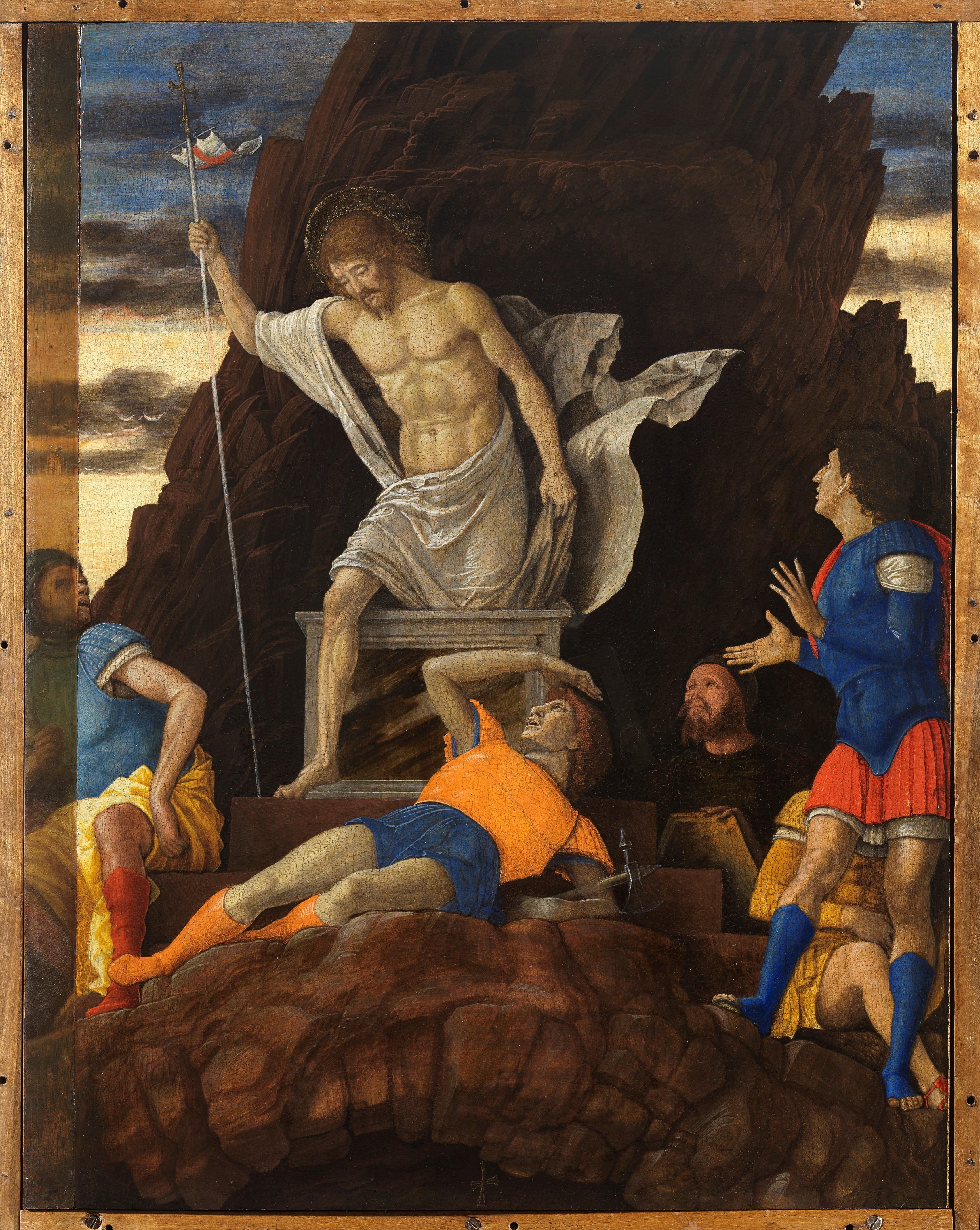 Andrea Mantegna, Resurrezione di Cristo, 1492 circa, tempera e oro su tavola, 48,5 x 37,5 cm, Bergamo, Accademia Carrara