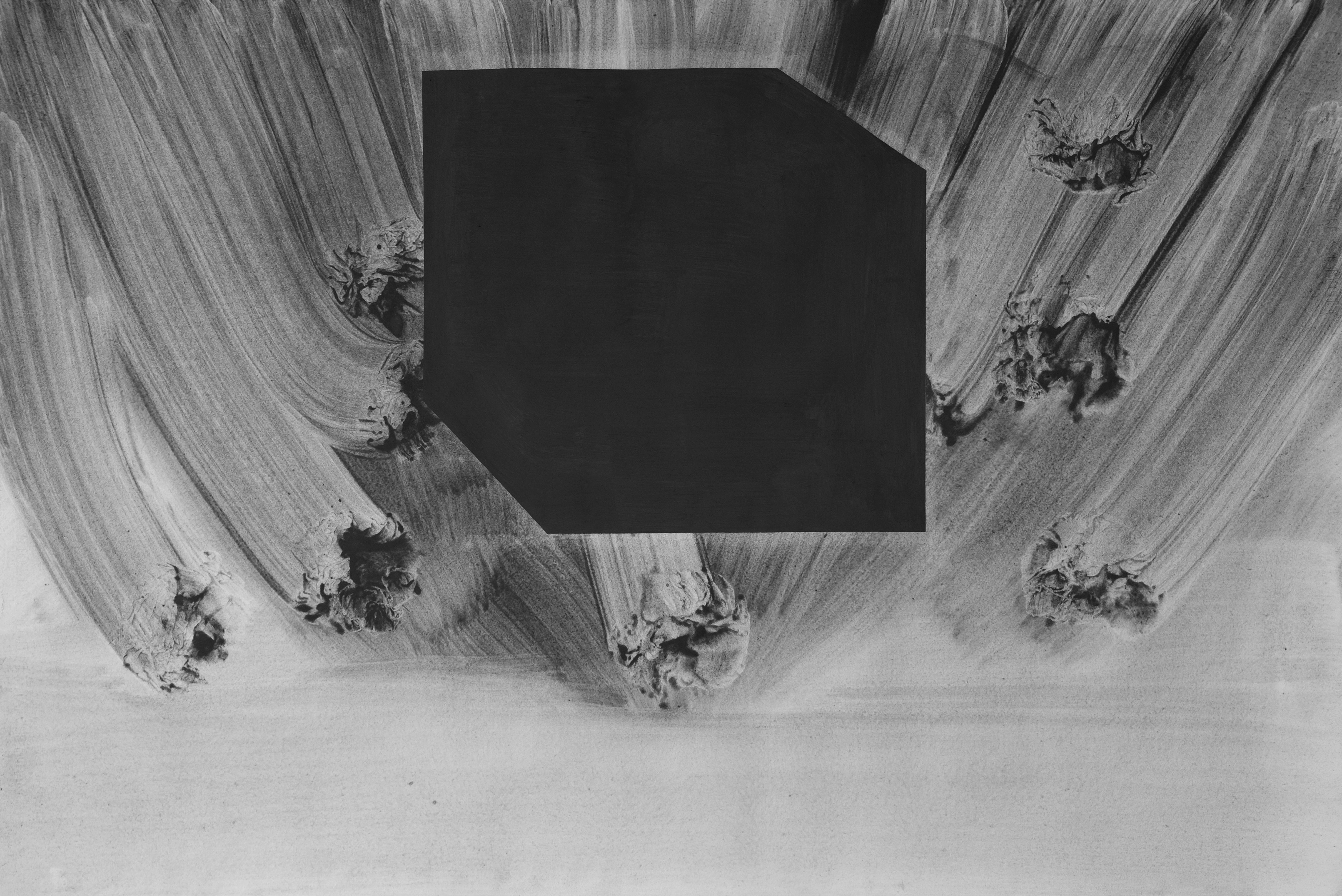 Alessio De Girolamo, Cube138, pittura dissipativa su carta, 75x108 cm