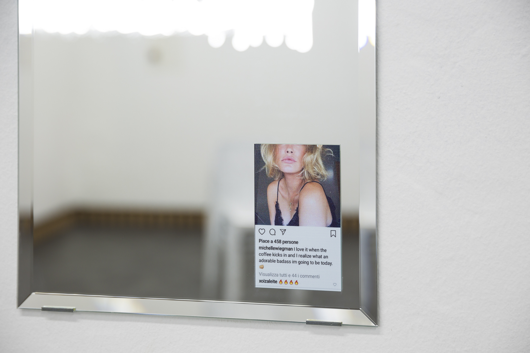 Debora Delmar, Daily Mirror (Instagram Archive), 2019, second room, detail. Photo courtesy Stefano Maniero, courtesy GALLLERIAPIU e Débora Delmar