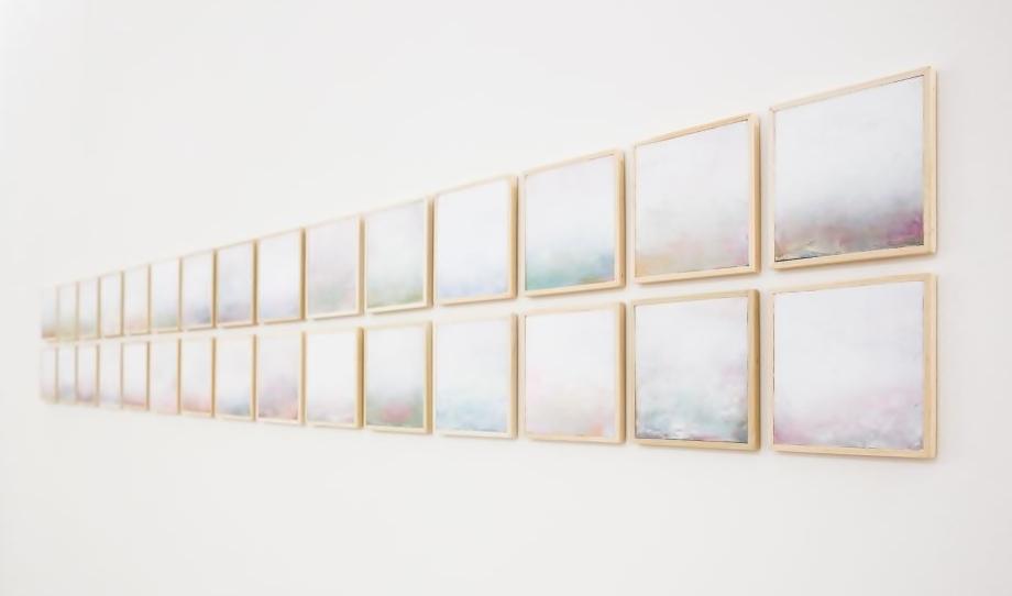 ''Natura con Deus'', tecniche miste su tavola, 15x15 cm cad., 2017