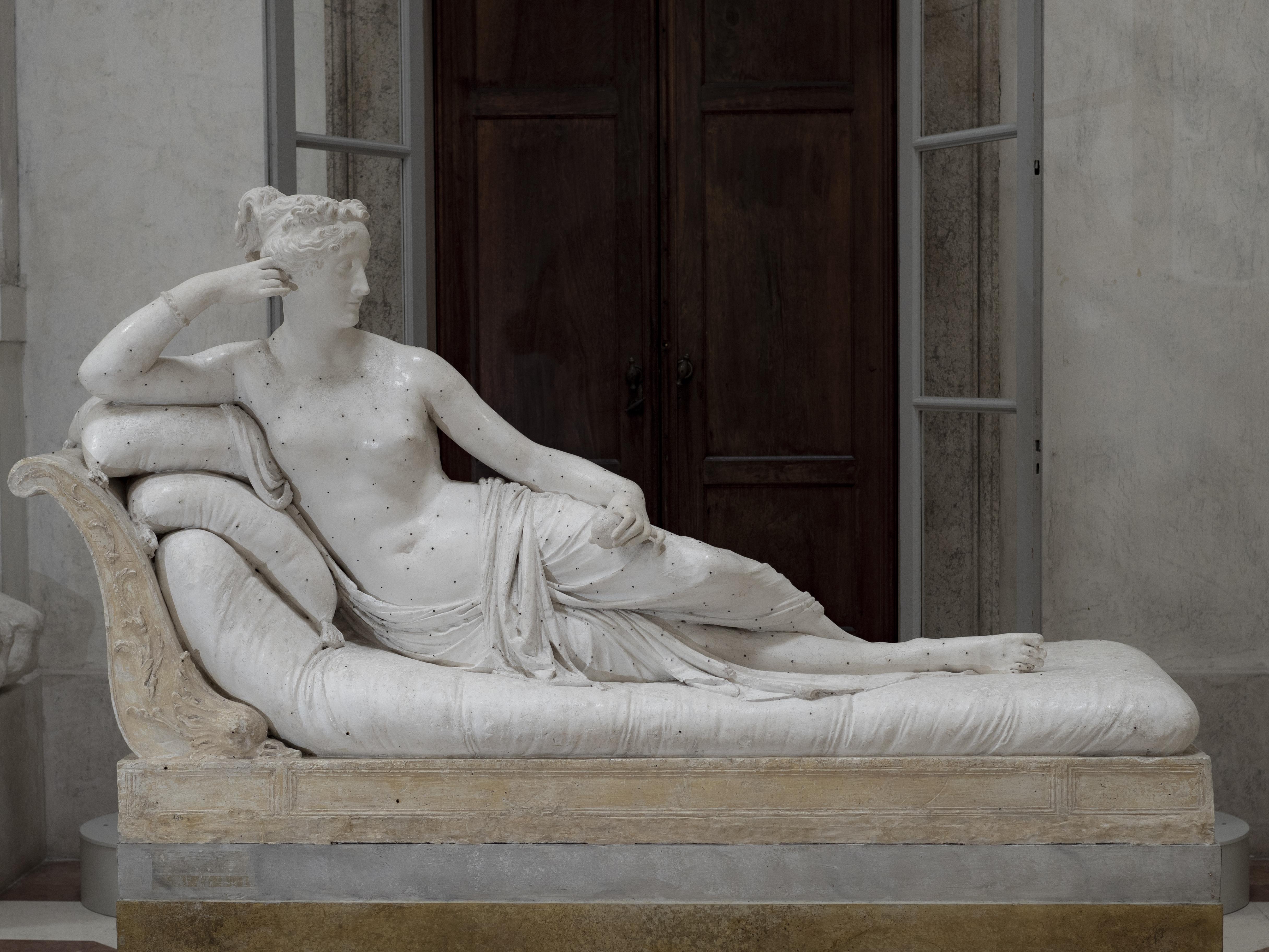 12. Antonio Canova  Paolina Borghese Bonaparte come Venere vincitrice,1804 – 1808 gesso, cm 167 x 68 x 145 Possagno, Gypsotheca e MuseoAntonio Canova