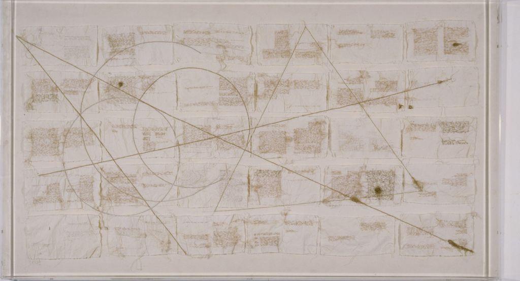 Maria Lai, Misurare l'infinito, 1987, filo su tela, plexiglas, cm 120 x 215, Galleria d'Arte Moderna di Roma.