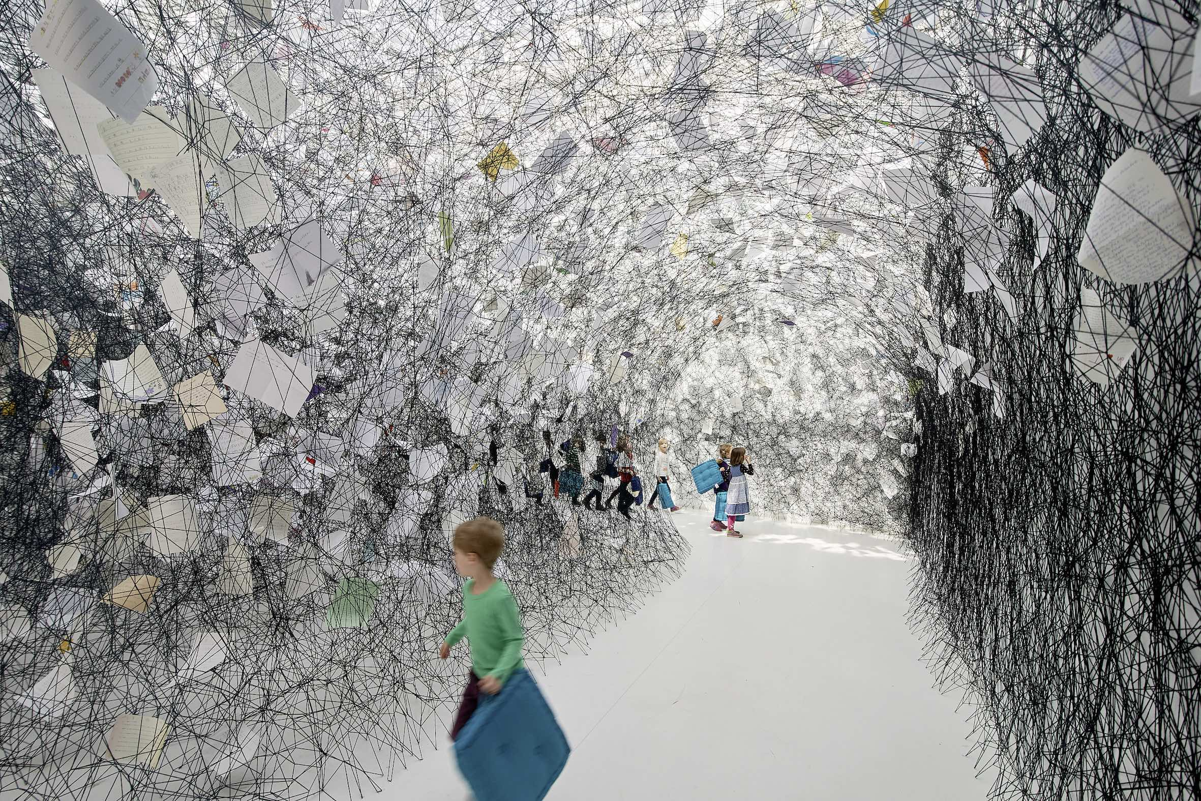 Chiharu Shiota, Letters of Thanks2017Installation: thank-you letters, black woolKunsthalle Rostock, Germany Photo by Thomas Häntzschel (Fotoagentur Nordlicht)Rostock Copyright VG Bild-Kunst, Bonn, 2019 and the artist