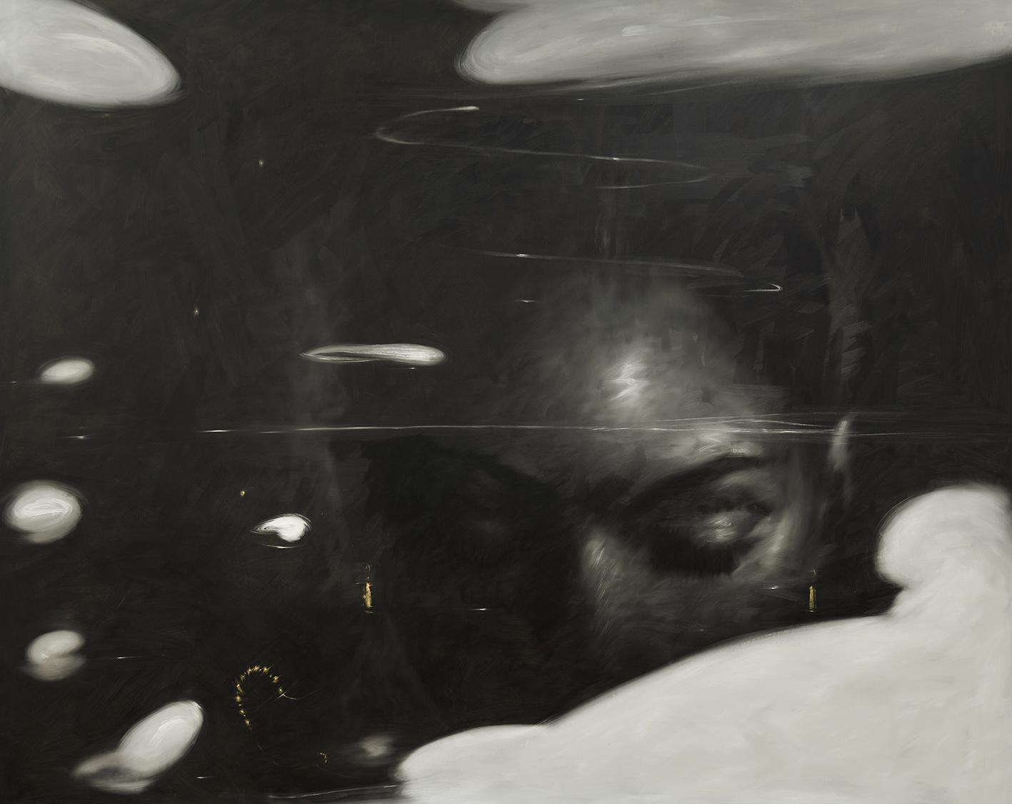 Omar Galliani, Felden lake, 2016, olio su tela, cm 200x330