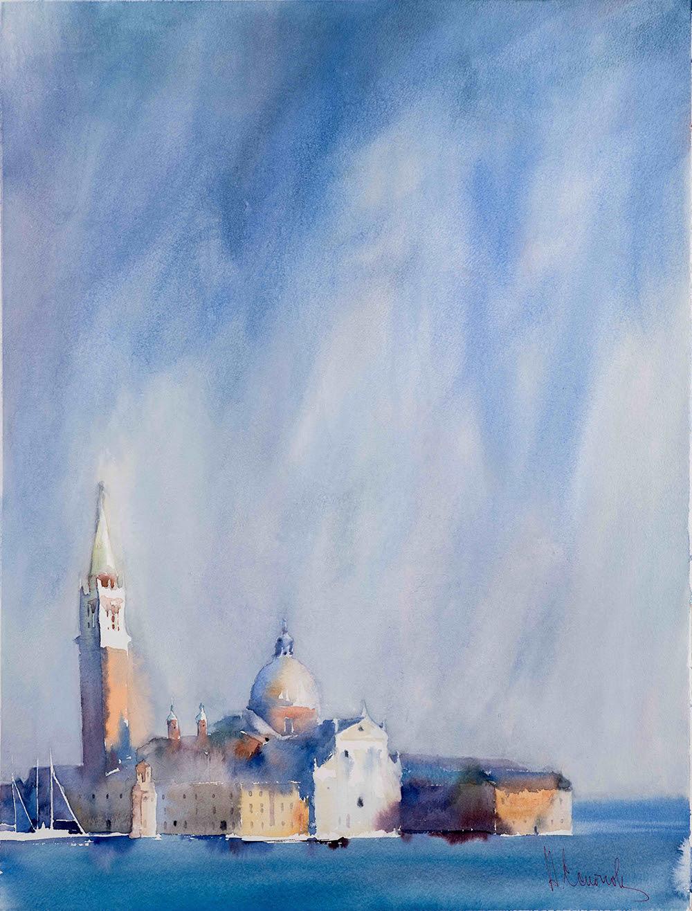 Andrey Esionov, L'irrealtà di qualcun altro, 2017 Сarta, acquerello, 76×56 -