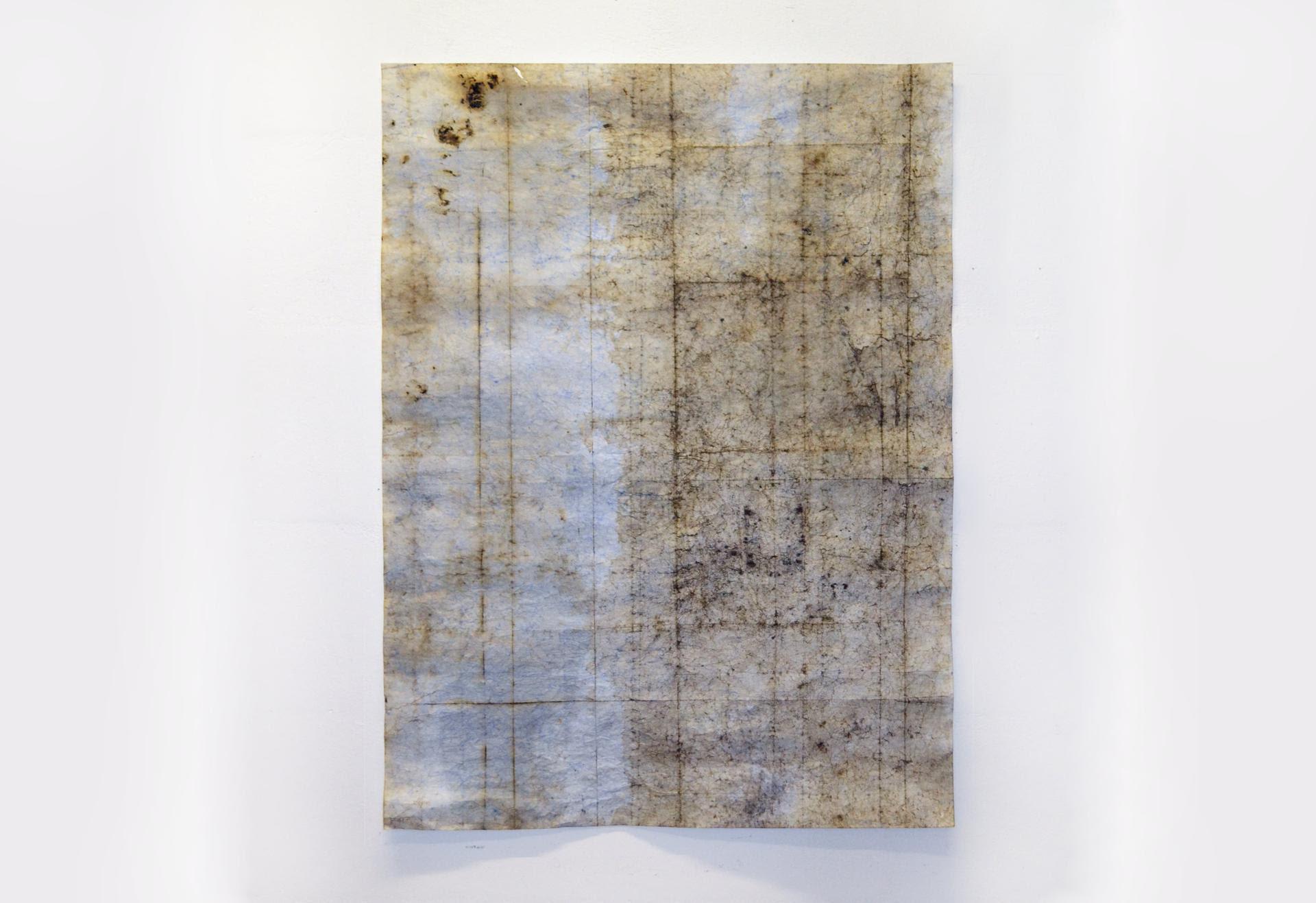 Silvia Infranco, Tracciati, 2014, pigmenti ossidi bitume su carta, 98 x 74,5 cm
