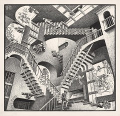 Escher. Relativity 1953 Lithographm