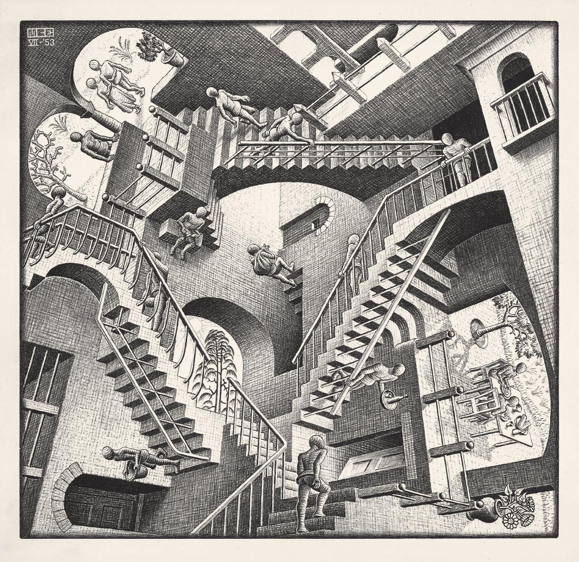 Escher. Relativity 1953 Lithographm