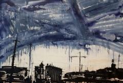 Francesco Barbieri, Sotto un cielo al petrolio, acrilico su tela, 70x100 cm, 2013