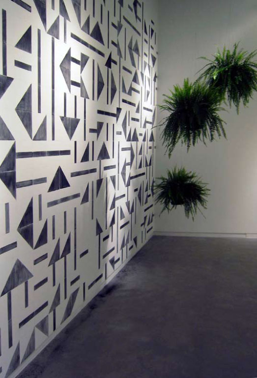 Laercio Redondo Restauro (Restoration), 2012 Charcoal stencil, water and ferns dimensions variable